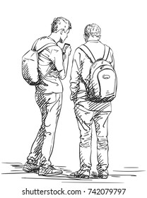 Vector sketch of two men standing with backpacks, back view. Hand drawn illustration with hatched shades isolated on white background