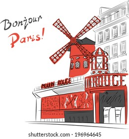 Vector sketch of urban landscape with cabaret Moulin Rouge in Paris