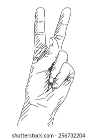 Vector sketch of victory sign Hand drawn illustration