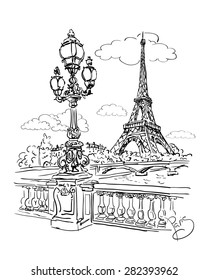 vector sketch of a view of the river Seine with a lantern