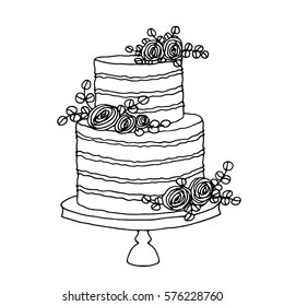 Vector sketch of wedding cake with floral decoration isolated on a white