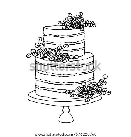 Vector Sketch Wedding Cake Floral Decoration Stock Vector Royalty