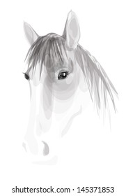 Vector sketch of white horse on white background.