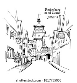 Vector sketch of White tower or Weisser Turm in medieval old town of Rothenburg ob der Tauber, Bavaria