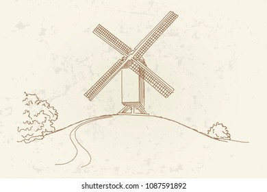 Vector sketch of Windmill in Bruges (Brugge), Belgium in retro style.