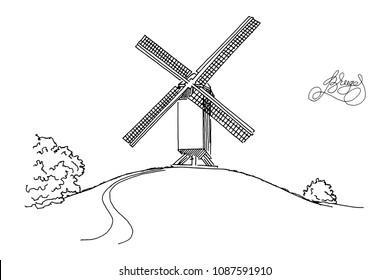 Vector sketch of Windmill in Bruges (Brugge), Belgium