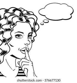 Vector sketch woman with finger on lips for quiet silence outlined