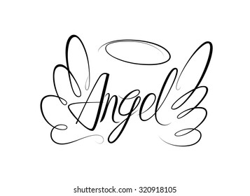 Vector sketch of word Angel and two wings. Linear drawing.