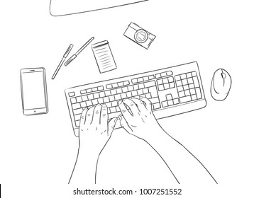Computer Keyboard Sketch Images Stock Photos Vectors Shutterstock