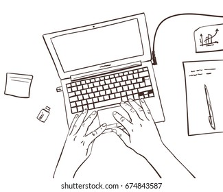Vector sketch of working place with hands with laptop and documents view from top, Line art style hand drawn illustration on white background
