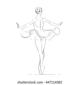 Vector sketch of young ballerina, hand drawing.