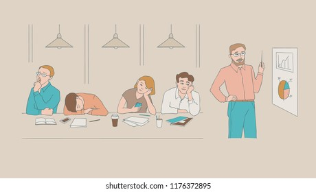 Vector sketch young bored, tired students sitting with cups of tea or coffee with boring, tired facial expressions at professor lecture. Young men, women sitting behind books yawning, sleeping