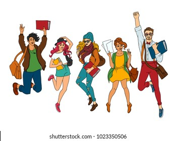 Vector sketch young teen students jumping set. Girls, boy in modern casual outfit, dress cap jeans, holding book backpack having fun. Female, male university college character. isolated illustration