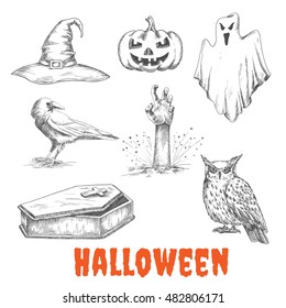 Vector sketched elements of Halloween celebration. Isolated witch hat, burning pumpkin with candles, bedsheet flying ghost, dead man hand from grave, raven crow, open vampire coffin, owl