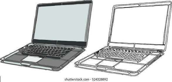 Vector sketched laptop in doodle style