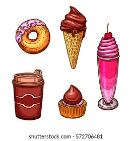Vector sketched sweets and desserts. Chocolate milkshake with cherry and whipped cream, glazed caramel donut, ice cream in wafer cone, cupcake and coffee cup for  cafe, baker shop or patisserie