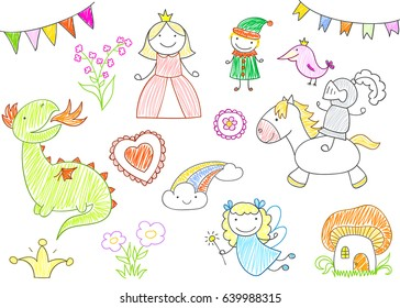 Vector sketches with characters of fairy-tales - princess, dragon, knight, fairy, elf. Kid drawing style. EPS8