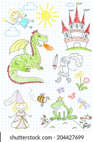 Vector sketches with characters of fairy-tales. Sketch on notebook page