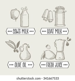 Vector sketches - cows and goats milk - olive oil - fresh juice