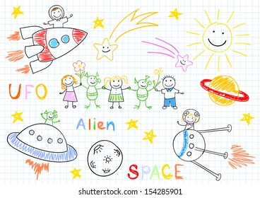Vector sketches with happy children's and aliens. Sketch on notebook page