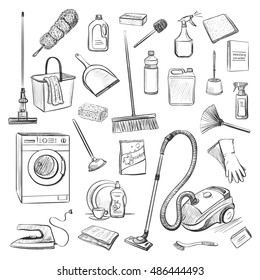 Vector sketches isolated on white background. Instruments and tools for cleaning and household chemicals