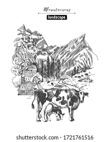 Vector sketches of mountain landscapes and mountain village. Hand drawn illustration.