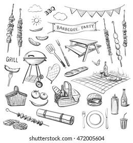 Vector sketches on a white background. Attributes for a barbecue party