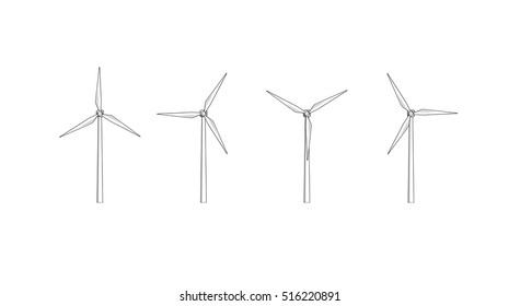 Vector sketches of wind turbines