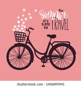Vector sketching illustrations. Bicycle in vintage style. Lettering: the summer it is time to travel. Isolated objects for your design. Each object can be changed and moved.