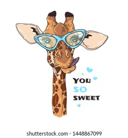 Vector sketching illustrations. Portrait of funny giraffe in custom glasses. Isolated objects for your design. Each object can be changed and moved.