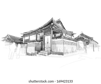 Vector Sketching of Korean Traditional House, Hanok.