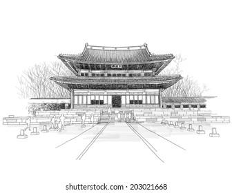 Vector Sketching of Korean Traditional Palace, Gung.