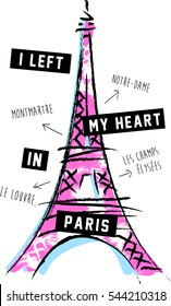 Vector Sketchy Eiffel Tower with Slogan. Romantic Paris Artwork.