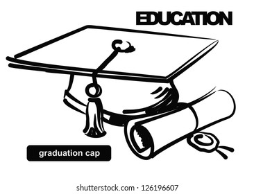 vector sketchy illustration of graduation cap on white