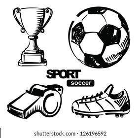 vector sketchy illustration of soccer on white