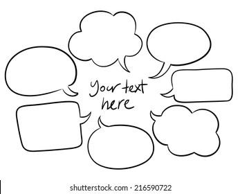 vector sketchy speech bubbles