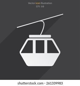 Vector ski lift flat icon illustration.