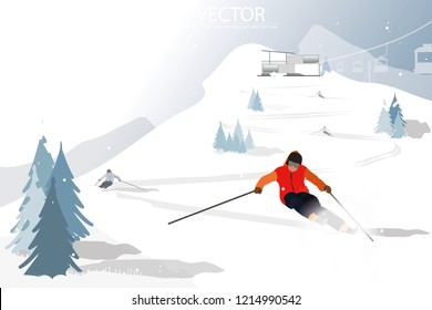 vector ski racing on the snow hill on winter background