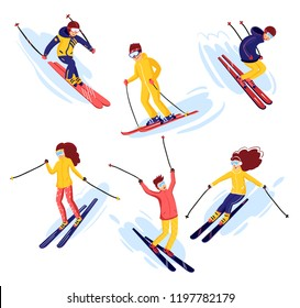 Vector skiers cartoon flat style. Men and women in the ski resort. Winter sport activity. Simple characters. Isolated on white background