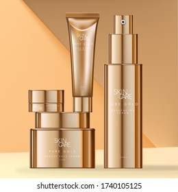 Vector Skin Care or Beauty Gold Plated Packaging with Jars, Tube & Bottle.