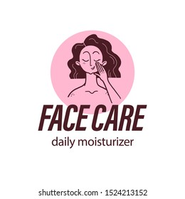 Vector skin care logo design concept with lady portrait & human hand illustration icon in hand drawn style isolated on light background. Face cream emblem, moisturizer packaging badge beauty body care