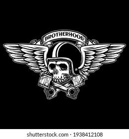 vector of skull biker badge logo illustration