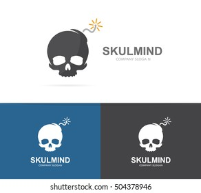 Vector of skull and bomb logo combination. Explosion and dead symbol or icon. Unique danger and destruction logotype design template.