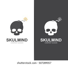 Vector skull and bomb logo combination. Explosion and dead symbol or icon. Unique danger and destruction logotype design template.