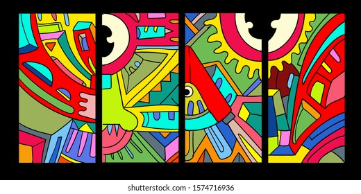 Vector abstractcartoondoodle skull, bone, insect, and head colorful illustration. Set of Liquid and fluid abstracttribal tattoo, sticker, banner, social media story, and wallpaperbackground.