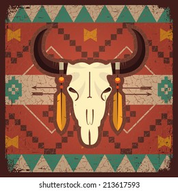 Vector skull bull with ethnic ornament on old texture.Native indian illustration