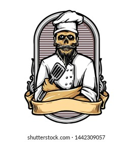 vector of skull with chef uniform, restaurant or culinary logo