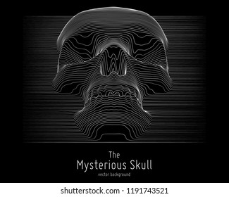 Vector skull constructed with lines. Mysterious sacral background. Internet security concept illustration. Virus or malware abstract visualization. Hacking big data image. Death abstract image