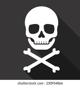 Vector Skull and Crossbones Flat Icon