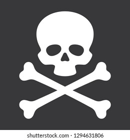 Vector skull with crossbones Icon on black background